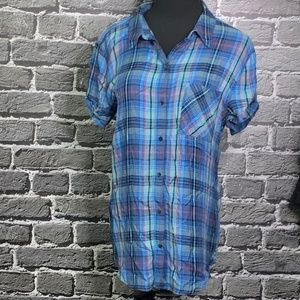 Treasure & Bond Boyfriend Flannel Shirt Sz M BLUE